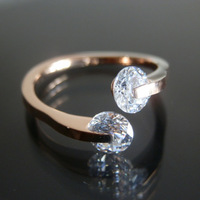 Free shipping! Wholesale rose gold plated titanium steel classic ring  free size about size 4--4.5HH003R
