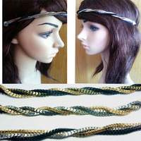 2013 women fashion gold silver black color Braided Headbands elasticity Head Chain brand design hair accessories