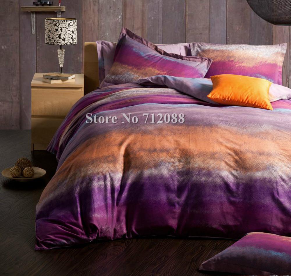 Free shipping purple orange modern pattern bed sheets - Orange and purple bedding ...