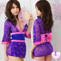 Women's sexy role playing the uniform big bow lace temptation kimono