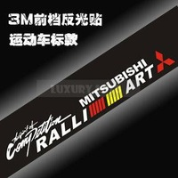 "Cool Racing Car Front/Rear Windshield Car Window Stickers Reflective Auto Logo Decal For MITSUBISHI ""RALLI ART""   WS-01"