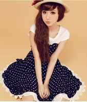 Sweet princess dress chiffon patchwork lace slim polka dot one-piece dress