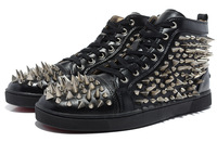 Fashion fashion rivet lovers leather shoes black silver spikes high hedgehogs3 shoes casual party shoes
