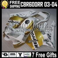 For HONDA CBR 600 600RR GOLDEN WHITE CBR600RR 03 04 CBR600 RR F5  MQ74 CBR600F5 Repsol White 03 04 2003 2004 CL274 Fairing +7gif