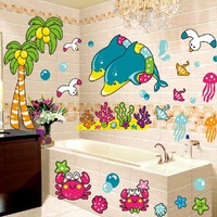 1Set Removable PVC Decals Bathroom Waterproof Tile Stickers & Beautiful Seaworld Dolphin Seagull and Coconut Palm Wall Sticker