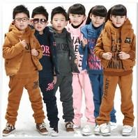 Children winter set clothes thicken lamb fur sweatshirt+vest+pants 3 pieces  boy girl sports suit kids casual hooded set 5 color