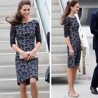 2014 New arrival Fashion British princess Kate Middleton lace half-sleeve dress