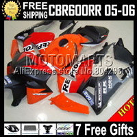 MQ75 For HONDA CBR600RR F5 05 06 Repsol CBR600 RR 05-06 CBR 600 600RR CBR600F5 2005 2006 CL331 Orange red Fairing Not racing