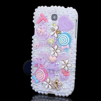 New Fation Purple Diamond Flower Cartoon Style Butterfly Pearl Case Cover For SAMSUNG GALAXY S4 I9500 Cute Jewelry Free Shipping