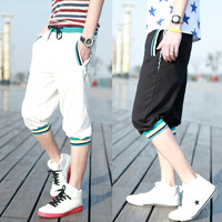 Rib knitting color block male knee length trousers sports capris trousers harem pants male capris Free shiping