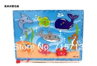 Free shipping creative educational intelligence magnetic fishing game wooden puzzle toys children gift 5 pc a lot