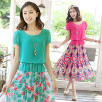 Chiffon one-piece dress 2013 beach summer one-piece dress chiffon skirt expansion bottom full dress