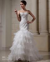 2013 New Arrival Stylish Strapless embroidery Organza Sheath Wedding Dress Bridal Gown Custom Made