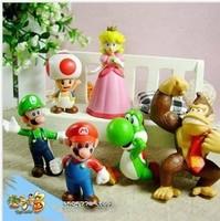 Wholesale Free shipping DHL 6pcs/set Super Mario Bros Luigi Mario Action Figures Toys Doll