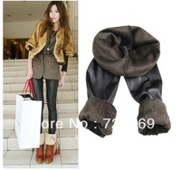 Free Shipping 2013 Fashion Autumn Bamboo Brushed Faux Leather Beaver Velvet Thickening Women's Winter Warm  Tight Pants