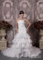 GNew Strapless Applique Bridal gowns Fold Bow Prom gowns Column Taffeta Train Wedding Dresses