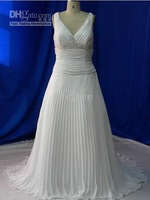 Sexy White Sheath/Column Beading Fold lace Bridal gowns Wedding dresses Prom Gowns