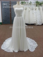 Wholesale - Ivory Strapless Pleats Beaded Column Chiffon Bride Wedding Dresses 4238