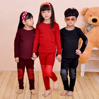 Colorful pig children's clothing male female child plus velvet thickening child f-5053 thermal underwear set