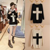 2014 new Hot Fashion Women The Cross Pattern Knit Sweater Outwear Crew Pullover Tops