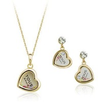 New Min.order is $15/Wedding/Hot, Free shipping/Wholesale/High qualityNew Austria colorful crystal heart jewelry set