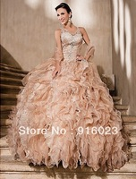 Ball gown wedding dress 2013 new custome hand made top quality V-neck Cathedral Train Organza And Lace weddng gowns