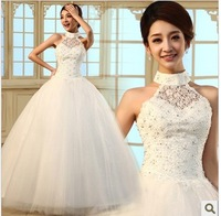 New arrival 2013 diamond princess halter-neck straps summer bright red wedding dress
