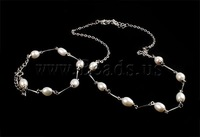 Free shipping!!!Natural Cultured Freshwater Pearl Jewelry Sets,Love, bracelet & necklace, with Iron, brass clasp, Rice, white