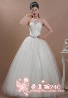 2014 rhinestone fashion paillette under the skirt quality wedding dress