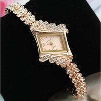 2014 New Rose Gold Luxury Full Rhinestone Lady Bracelet Stainless Steel Watch Bangle Fashion Diamond Quartz Watches ML0454