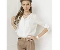 Free Shipping Fashion Hot Women OL style Chiffon Shirts V-collar with pocket