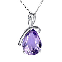 Pure silver female necklace natural amethyst drop necklace chain day gift