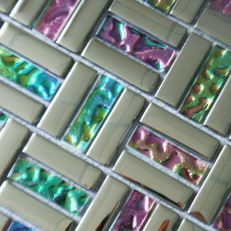 Glass Mosaic Backsplash Tiles Silver Iridescent Tile Metal Coating