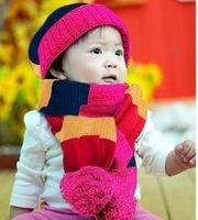 Autumn and winter beanie baby knitted hat double layer thickening child hat scarf colorful cover cap