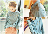free shipping 2013 rivet denim shirt female shirt all-match denim coat female clothes plus size t shirts women
