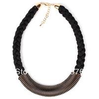 XL0024  100% Handmade Fashion Necklace Red&Black Colors Silk Bibs