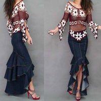 2014 Fashion women's denim Mermaid fish tail skirt multi layers lotus leaf patchwork jeans skirt plus size irregular long skirt