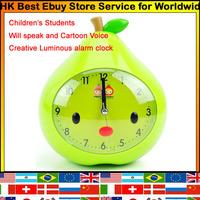 Loverly Creative Children Student Cartoon voice ABS Ultra quiet movement Luminoua Alarm Clock