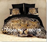 New fashion  3D 4pcs 100% cotton tiger reactive printed king queen size 3d bedding set animal design