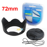 Lens Hood 72mm + Lens Cap 72mm + Green 72mm MC UV Lens Filter Camera Lens Accessories