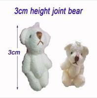 Fashion Pendant 100pcs 3cm White Mini Joint Bear Bare Joint Bear Doll Cell Phone Pendant Cartoon Plush Stuffed Toy Doll