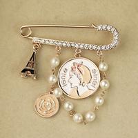 Fashion fashion eiffel tower coin diamond pin female brooch accessories jewelry gift h5410