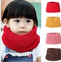 Free shipping 1pcs New arrival knitted scarf  child 4 coloresInfant yarn candy color grid scarf muffler baby child cotton scarf