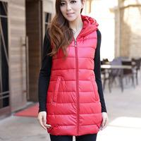 Free shipping 2013 winter and autumn women large size fashion PU long sleeveless vest  plus size female outwear coat