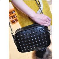 2013 women's vintage handbag shoulder bag rivet bag candy color  small bag shoulder bag Oblique cross package