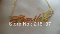 "Free Shipping Celebrity star Name Necklaces/925 sterling silver 18K gold 1"" 2""nameplate Necklace/customized Necklace/great gift"