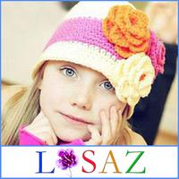 New 2013 Casual Flower Kids Knitted Hat Birthday Crochet Cap For the Girl