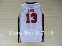 Free Shipping,Basketball Jersey,#13 Chris Paul 1992 USA Basketball Retro Jersey,Embroidery logos,Size 44-56