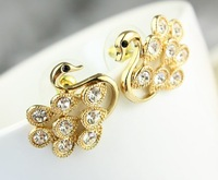 Rhinestone decorated swan named TWO of  A KIND romatic animal earring -Free shipping for MIN MIX ORDER $10