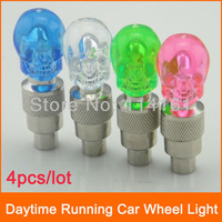 Appearance Skull Type Car LED Tyre Wheel Valve Cap Light , Auto drl Led Daytime Running Lights Bike Light